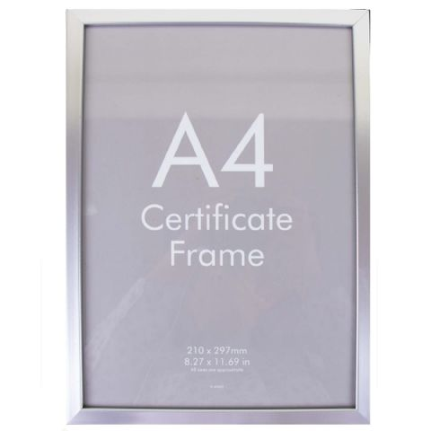 A4 Silver Safety Plastic Photo Picture & Certificate Frame